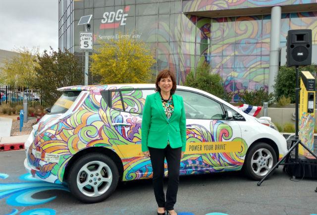 Mary Salas with Nissan LEAF