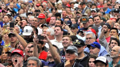 Thousands of Donald Trump supporters filled Hall H at the San Diego Convention Center. Photo by Chris Stone