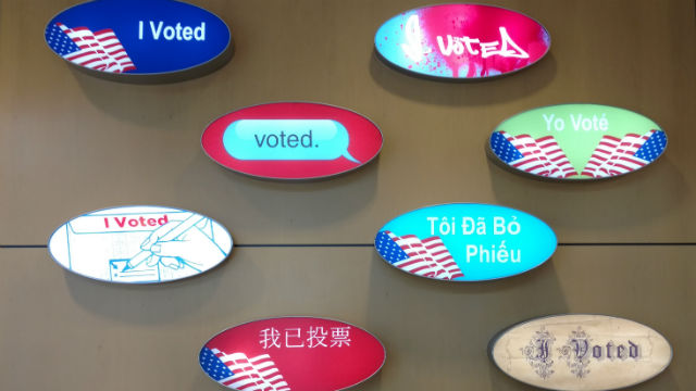 I voted stickers in different languages