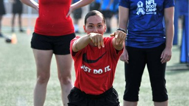 NFL Boot Camp drew women as well to Marine Corps Air Station Miramar. Photo by Chris Stone