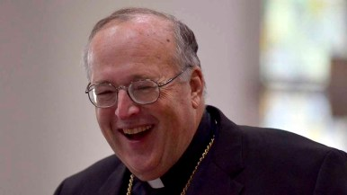 San Diego Bishop Robert McElroy in a light moment at the synod. Photo by Chris Stone
