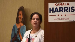Michelle Obama had a presence at Westin Hotel, where Democrats celebrated local victories. Photo by Chris Stone