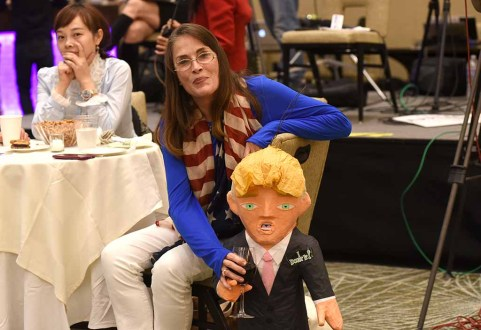 Democrat shared some wine with a Donald Trump figure at Westin Hotel before his victory was assured. Photo by Chris Stone