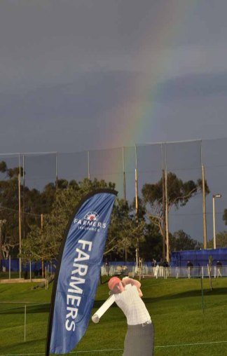 A rainbow appeared during practice at Torrey Pines on Tuesday. Photo by Chris Stone
