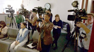 Local news crews taped comments at San Diego Press Club office. Photo by Ken Stone