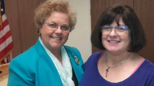 Jessica Hayes succeeds Francine Busby (left) as chair of the county Democratic Party. Photo via sddemocrats.org