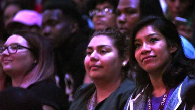 Audience members listen intently to Angela Davis at Southwestern College. Photo by Chris Stone