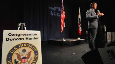 Wearing gray jeans, Rep. Duncan D. Hunter speaks at a Town Hall at Ramona's Mainstage. Photo by Chris Stone