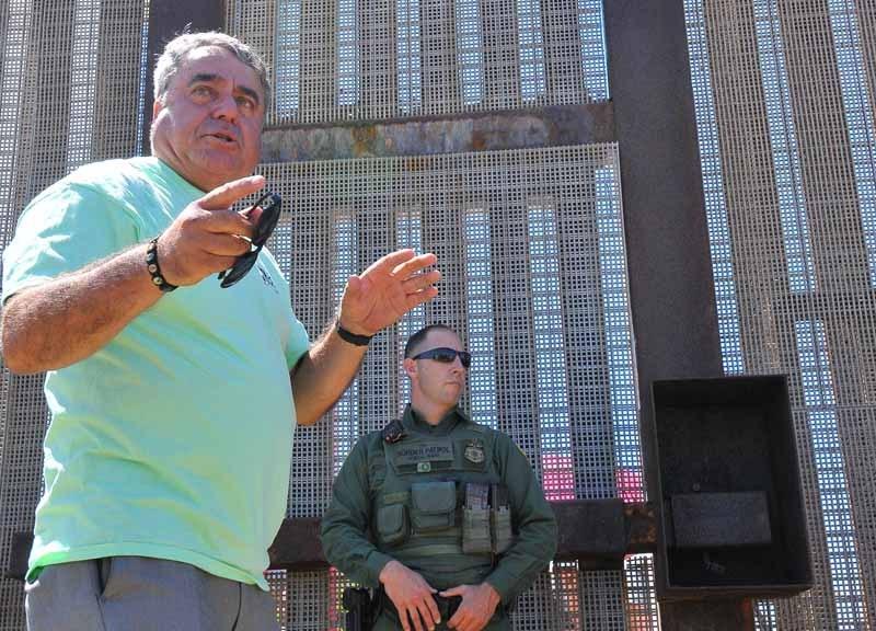 Enrique Morones at the border fence