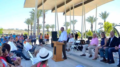 San Diego Mayor Kevin Faulconer speaks at the opening of Civita Park in Mission Valley. Photo by Chris Stone