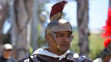 A parishioner portrays a Roman soldier. Photo by Chris Stone