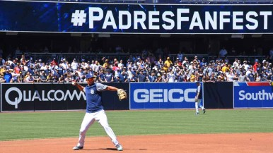 Fans fill the outfield seats at Padres FanFest, hoping for a home run ball. Photo by Chris Stone