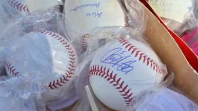 "Autographed baseballs were for sale at the Padres ""garage sale"" at FanFest. Photo by Chris Stone"