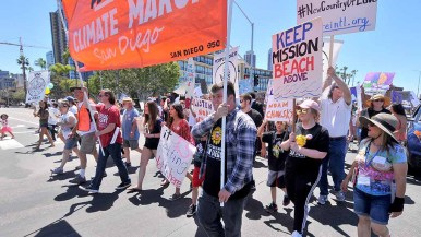 Leaders of People's Climate March San Diego return to Waterfront Park after mile loop route. Photo by Ken Stone