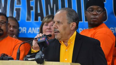 Mickey Kasparian speaks to media at UFCW Local 135 about his new San Diego Working Families Council. Photo by Ken Stone