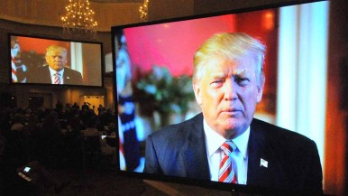 Donald Trump vowed to campaign for congressional Republicans ahead of the 2018 midterms in video message to RNC. Photo by Ken Stone