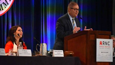 Bob Paduchik, co-chair of the RNC, addressed more than 200 delegates and guests at the Hotel Del. Photo by Ken Stone