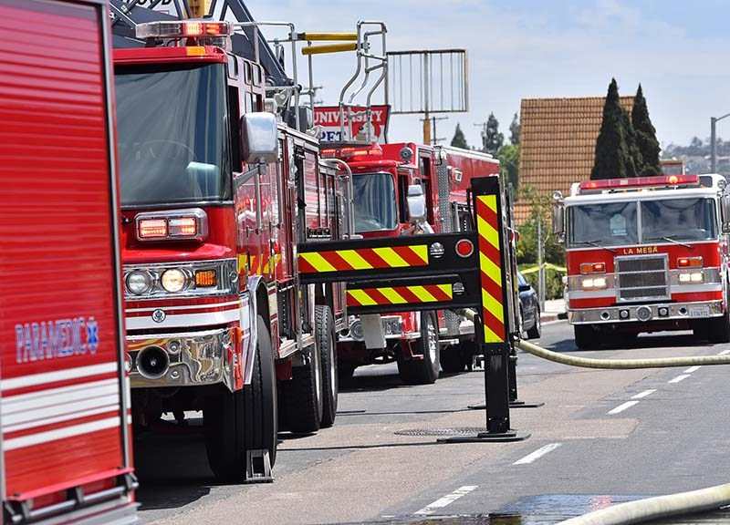 Firefighters and paramedics responded to a kitchen fire at Wong's Golden Palace on Fire in La Mesa.