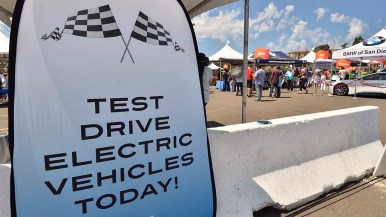 People stood in line to test drive vehicles.