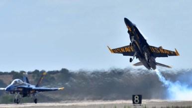 A Blue Angel plane takes off at the 2017 Miramar Air Show.