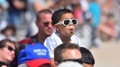A child watches the Blue Angels perform at the 2017 Miramar Air Show.