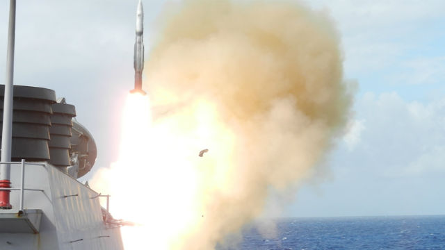 USS Higgins launches missile