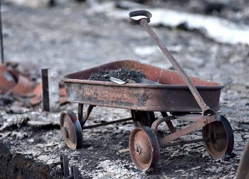 Child's charred wagon
