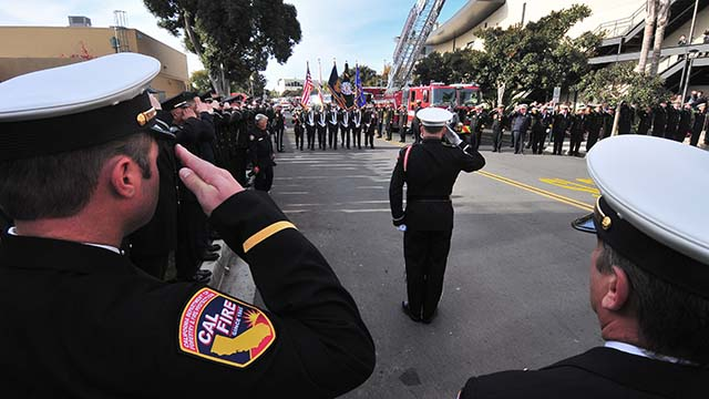 About 1,800 firefighters and their families attended the memorial service at San Diego's Rock Church for Cal Fire Engineer Cory Iverson.