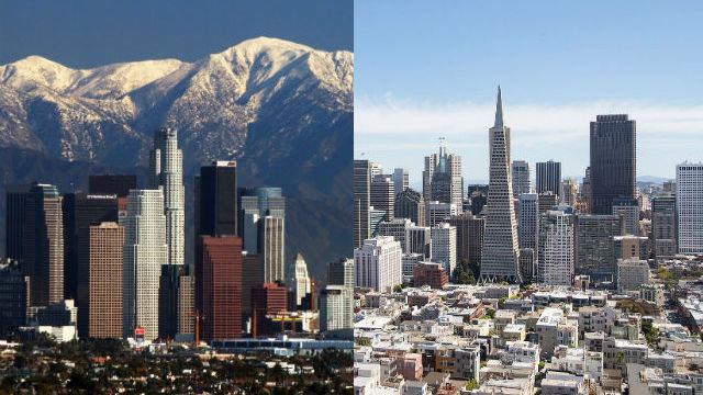 Los Angeles and San Francisco skylines