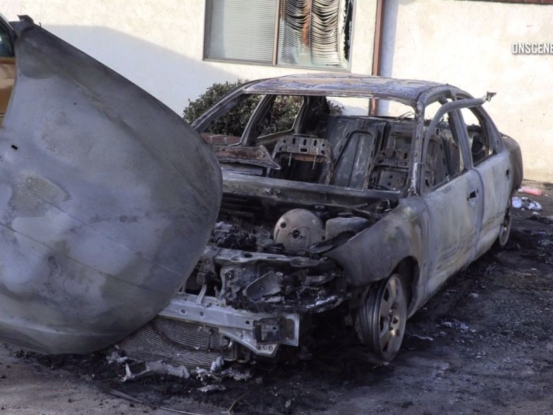charred car in El Cajon