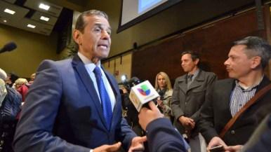 Democratic gubernatorial candidate Antonio Villaraigosa speaks with the media after the debate.