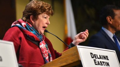 Candidate Delaine Eastin explains her sand on an issue at a gubernatorial debate in the Jacobs Center in the Chollas View area.