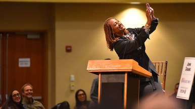 State Sen. Holly Mitchell poses for a selfie with the audience of hundreds.