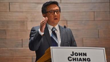 Democratic gubernatorial candidate John Chiang presents his views at the debate.