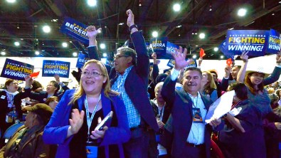 Supporters of state attorney general candidate Xavier Becerra cheer his speech.