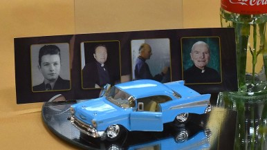 Toy cars were placed at reception tables as a tribute to the Rev. Brown's support of car clubs in the area.