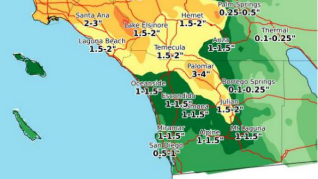 Forecast rainfall amounts