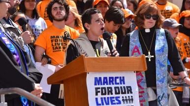 Rabbi Yael Ridberg of Congregation Dor Hadash speaks to marchers.