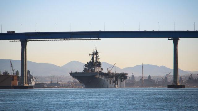 USS Essex under the Coronado Bridge