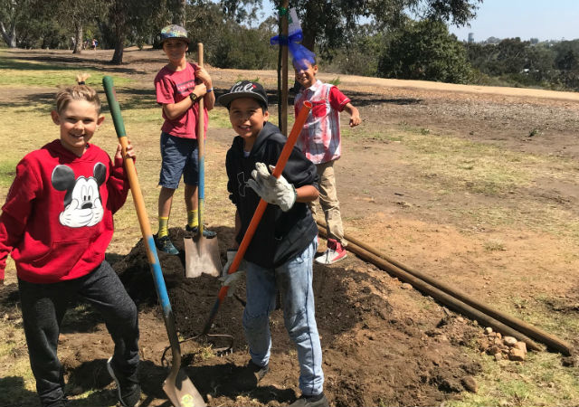 Planting a tree in Balboa Park