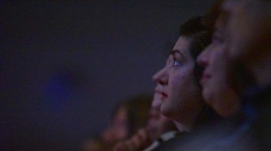 Audience members silently listened to George Takei's talk about his interment during World War II.