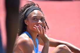 Allyson Felix, after her race, waves at an acquaintance at Mt. SAC Relays.