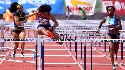 Olympic champion Brianna Rollins McNeal clears last barrier in winning the 100-meter hurdles at Mt. SAC Relays.