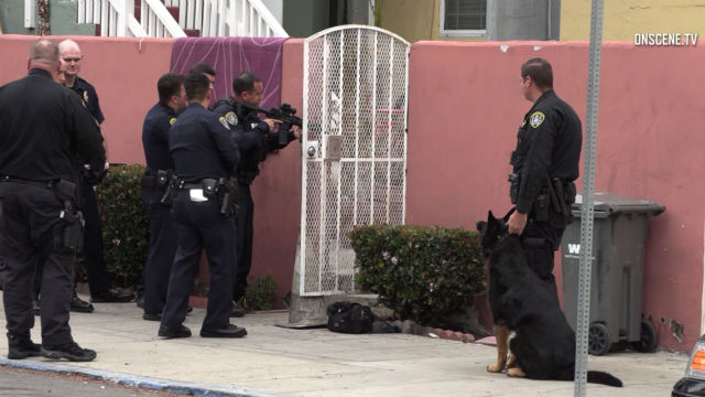 Officers with assault weapons outside home