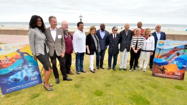 Staff and major players in the inaugural ANOC World Beach Games pose after press conference.