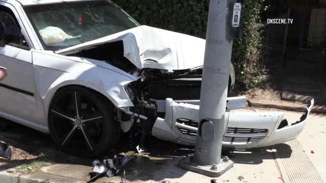 Wreckage of car