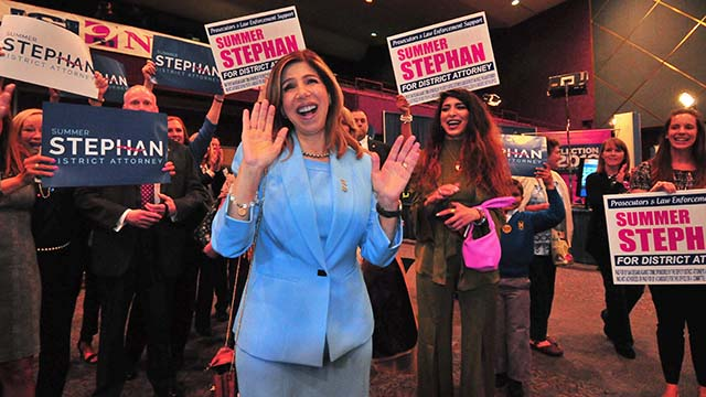District Attorney Summer Stephan at Golden Hall on June 4.