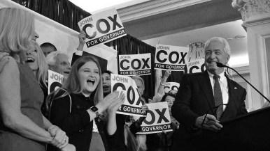 At the U.S. Grant Hotel, Republican governor candidate John Cox celebrates advancing to a November runoff.