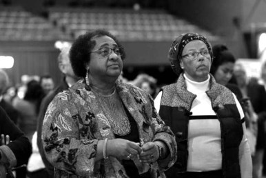 Democratic Assemblywoman Shirley Weber (left) watches results of her dominating victory over GOP challenger John Moore.