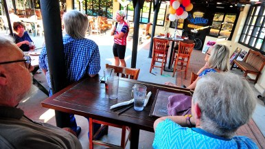 Supporters gather at a cafe on Main Street in El Cajon to hear Mark Meuser speak.
